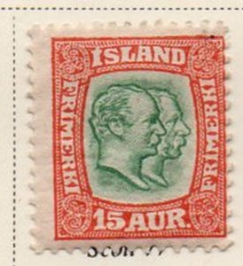 Iceland Sc 77 1907 15 aur red & green 2 Kings stamp mint