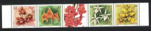 Serbia Orchids 4v Strip with label SG#624-627