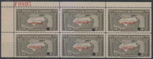 HONDURAS 1935 MAP Sc C79 Sanbr AS180 PL# F9895 BLOCKx6 PERF PROOF SPECIMEN MNH