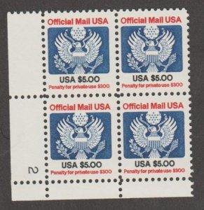 U.S. Scott #O133 Official Stamp - Mint NH Plate Block