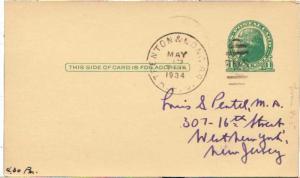 United States U.S. R.P.O.'s Trenton & Long Br. 1934 245-F-4  Postal card Phil...