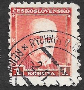 Czechoslovakia Scott #170 1k President Masaryk (1930) Used