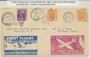 USA 1934 S.F.-HONOLULU TRANS PACIFIC ROUND TRIP COVER, FLT#1230  (SEE BELOW)