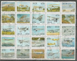 SOUTH AFRICA, 1993, used Complete sheet, Aircraft: Scott 849a-z