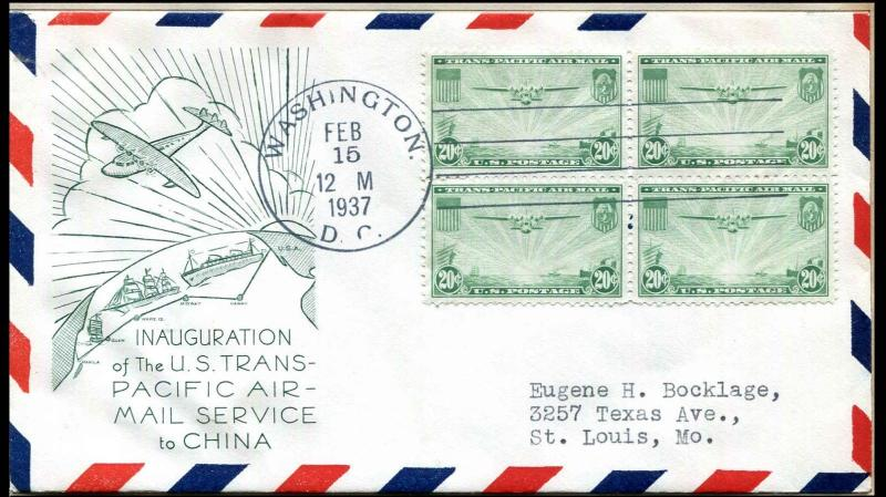 US #C21 20¢ China Clipper Block of 4 FDC, Green Cachet