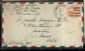 BRITISH SOLOMON ISLANDS COVER (PP0806B)  1944 US 6C PSE FROM BOUGANVILLE TO USA