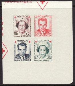 1949 Monaco Charlotte & Rainier imperf Souvenir Sheet S/S MNH Sc# B99a CV $45