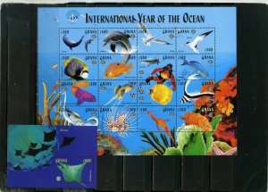 GHANA 1998 FISH & MARINE LIFE SHEET OF 16 STAMPS & S/S MNH