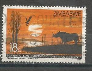 ZIMBABWE, 1986, used 18c, Rhinoceros, Scott 526