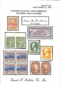 Kelleher: Sale # 562  -  United States and Foreign Stamps...