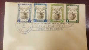 O) 1949 DOMINICAN REPUBLIC, PIGEON AND GLOBE - ANNIVERSARY OF THE UPU, FDC XF
