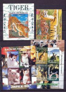 TURKMENISTAN 1997/98 Wildlife Tigers Cats Kangaroos Sheets MNH x 4 DAB681