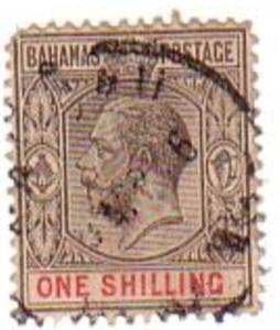 Bahamas Sc 54 1912 1/ G V stamp used