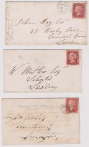 Gt. Britain 1857 One Penny Perf. 14 Scott #20 Three Covers 1863-64 VG-F