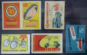 Match Box Labels! automobile car motorcycle vehicle czechoslovakia bike GJ7