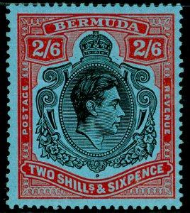 BERMUDA SG117b, 2s 6d black & red/pale blue, NH MINT. Cat £22.