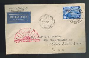 1931 Germany Graf Zeppelin Leningrad Cover Polar Flight LZ 127 # C41 to USA