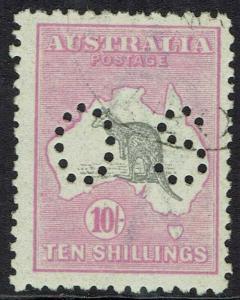AUSTRALIA 1915 KANGAROO OS 10/- 3RD WMK USED/CTO