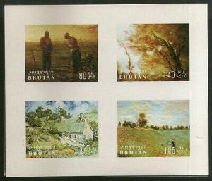Bhutan 1968 Van Gogh Monet Millet Paintings Art Embossed Sc 96QM/s MNH # 8437