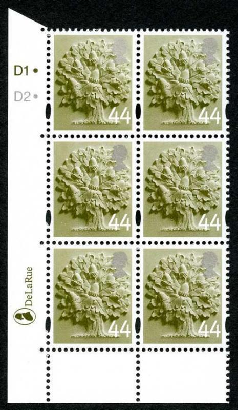 SGEN11b England 44p white borders cyl D1D2 dot block HEAD TYPE 1 U/M