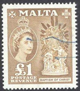 Malta Sc# 262 Used 1957 £1 Definitives