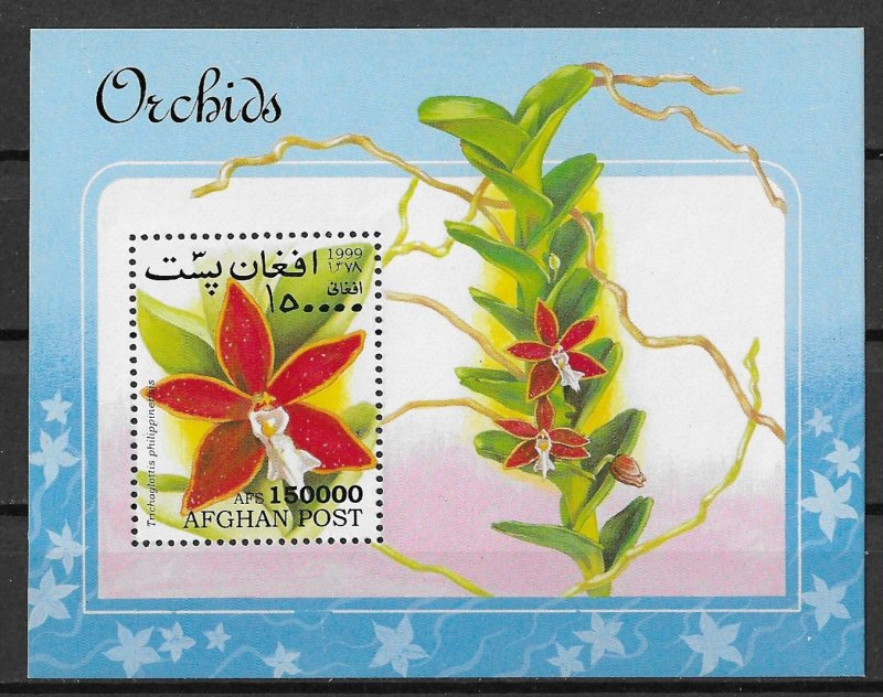 Afghanistan MNH S/S Flora Orchids