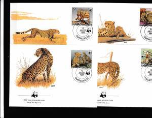 Upper Volta - Fauna WWF - 4 FDC - CHEETAH