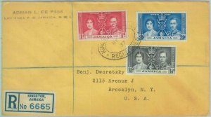 83376 - JAMAICA  - POSTAL HISTORY - Registered  FDC COVER 1937 - ROYALTY