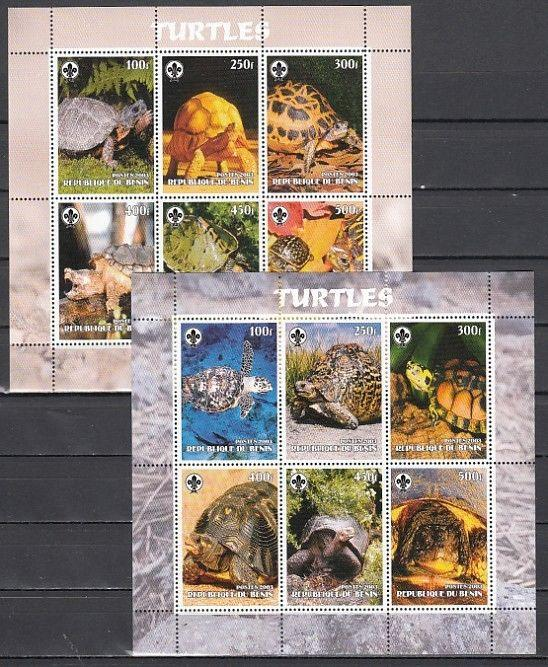 Benin, 2003 Cinderella issue. Various Turtles, 2 sheets of 6.