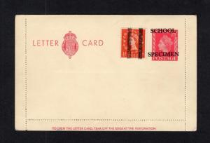 21/2d POSTAL STATIONERY CARD OVERPRINTED SCHOOL SPECIMEN UNUSED + TRAINING 1/2d