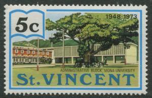 St Vincent - Scott 360 -West Indies University -1973 - MLH - Single 5c Stamp
