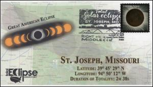 17-240, 2017, Total Solar Eclipse, St Joseph MO, Event Cover, Pictorial Cancel,