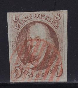 1 F-VF neat Red cancel with nice color cv $ 400 ! see pic !
