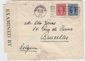 RARE double weight 8c UPU rate to ** BELGIUM ** 5c+3c 1939 Canada cover