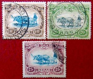 KEDAH 1921 10c,20c,25c Plowing Used Scott 33,35,37 CV$18