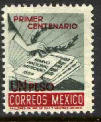 MEXICO 889, $1P Centennial of National Anthem. MINT, NH. F-VF.