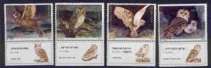 Israel 956-9 + tab MNH Owls, Birds