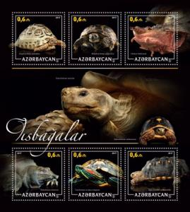 AZERBAIJAN 2017 SHEET TURTLES REPTILES azrb17216a