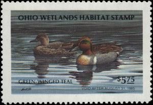 OHIO #03 1984 STATE DUCK STAMP GREEN WINGED TEAL by Harold Roe