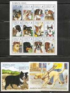 Turks and Caicos Islands 1210-12 1996 Working Dogs m/s an...