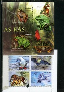 ST.THOMAS & PRINCE ISLANDS 2011 FAUNA 2 SHEETS OF 2 & 4 STAMPS MNH