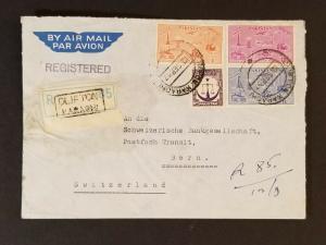 1957 Swiss Embassy Karachi Pakistan Bern Switzerland Registered Air Mail Cover