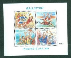 Norway. 1988 Souvenir Sheet Mnh. Ball Sports  Scott# 934 a-d.