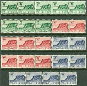 EDW1949SELL : NORWAY 1953 Scott #B54-56. 8 Complete sets. VF, Mint NH. Cat $416.