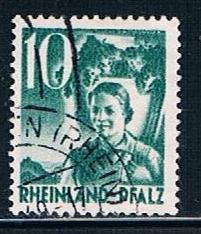 Germany Rheinland Pfalz 6N34: 10pf Carrying Grapes, used, VF