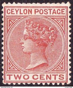 CEYLON 1883 QV 2 Cents Pale Brown SG146 MH