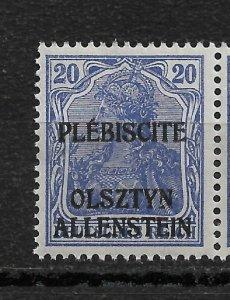 Germany Allenstein 1920 ,20pf ,Scott # 5,VF MNH**OG