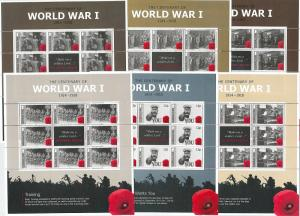 64458 -  GIBRALTAR - STAMPS - 2014  - WORLD WAR I -  MINIATURE SHEETS