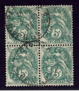 FRANCE - 1923 - Bloc de 4x 5c BLANC Type 2 Obl. CAD  PARIS-110 / R. DE RENNES