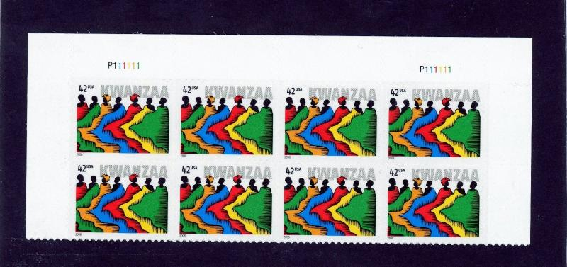 US  4373  Kwanzaa 42c - Top Plate Block of 8 - MNH - 2008 - P111111